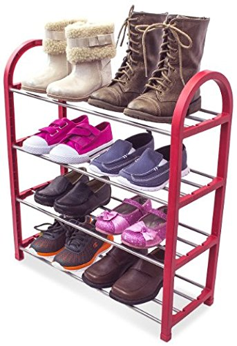 Sorbus® Kidu0027s Shoe Rack Junior Organizer Storage   4 Levels For Shoes  Easy  To Assemble   No Tools Required (Red)