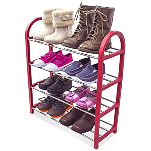 Sorbus® Kidu0027s Shoe Rack Junior Organizer Storage - 4 Levels for Shoes- Easy to Assemble - No Tools Required (Red)  sc 1 st  Amazon.com & Closet Shoe Organizer for Kids: Amazon.com