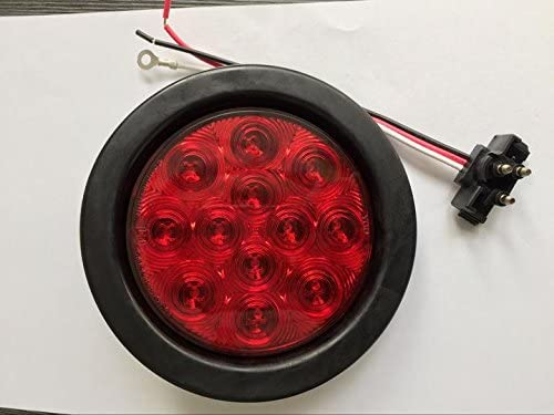 Set of 8 MBB 4 inch Round 12 Amber LED Brake Stop Turn Signal Marker Rear Tail Lights w//Grommet Plugs for Bus RV Truck