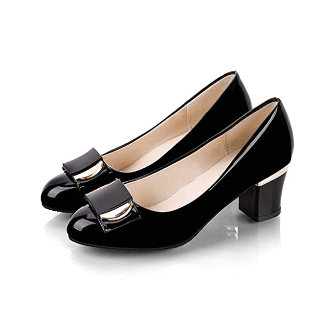 c2322ae1fdf5 Image Unavailable. Image not available for. Color  Plus Size Woman Dress  Shoes Office Lady Shoes Patent Leather High Heels Women Shoes Square Heeled