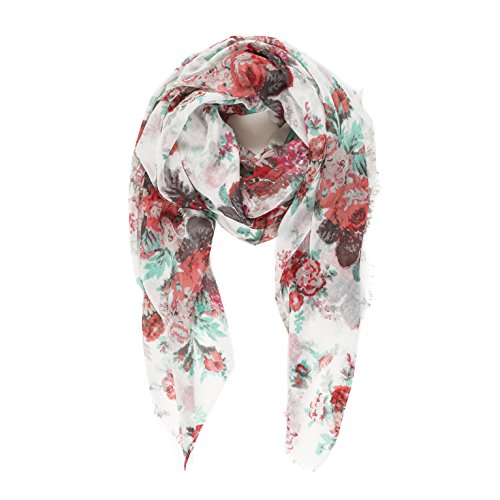 tweight Fashion Spring Winter White Red Green Floral Flower Scarves Shawl Wraps by Melifluos (P010-1) (White Floral Scarf)