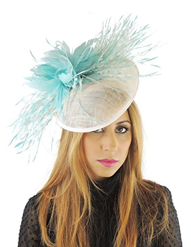 Hats By Cressida Cream Turquoise Feather Fascinator Hat For Ascot Derby Headband by Hats By Cressida