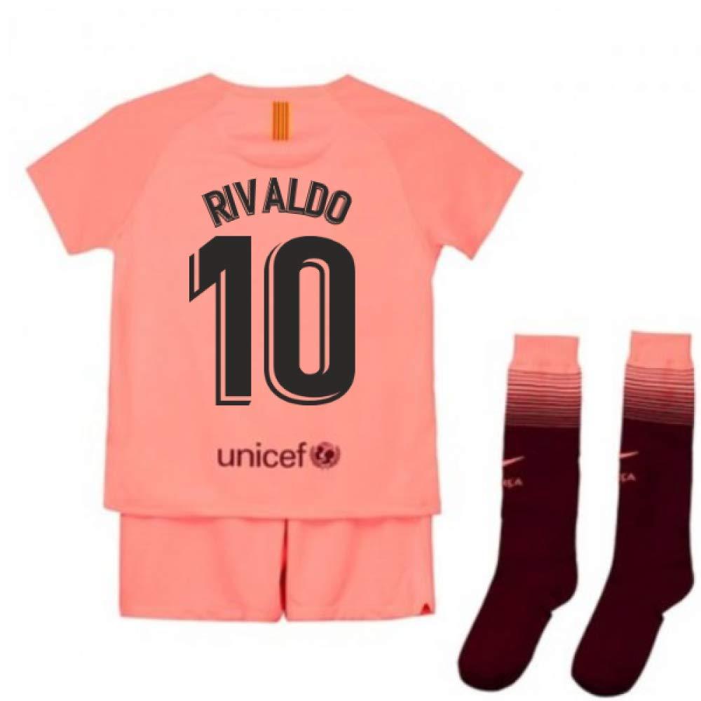 UKSoccershop 2018-2019 Barcelona Third Nike Little Boys Mini Kit (Rivaldo 10)