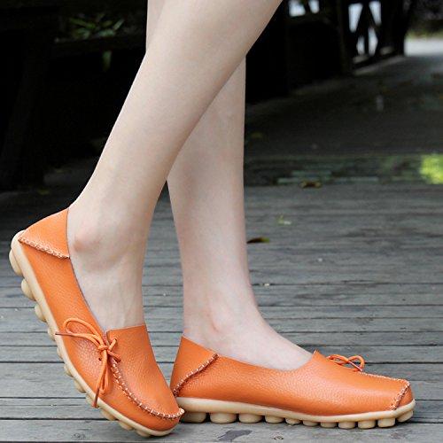 Scarpe Da Guida Donna Joansam Mocassini Allacciati In Pelle Di Vacchetta Scarpe Da Barca Arancione