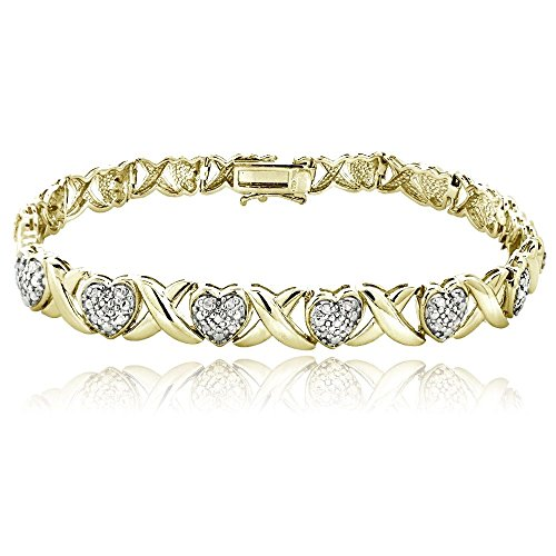 1/2 Ct Diamond Infinity & Heart Bracelet in Gold Plated Brass (7) by Jawa Fashion