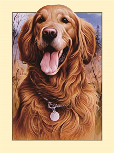 Komking DIY 3D Diamond Painting by Numbers Kits for Adults, Vivid Golden Retrievers Embroidery Rhinestone Cross Stitch Arts Craft Canvas Wall Decor, (Canvas Retriever)