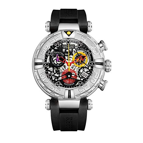 New Design Reef Tiger Top Brand Men Watches Steel Skeleton Watch Rubber Strap Sport Watches RGA3059-S (RGA3059-S-YBBB) ()