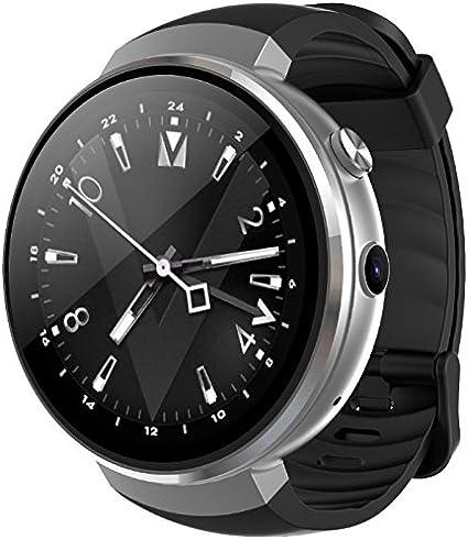 LEMFO LEM7 - Android 7.0 4G LTE Smartwatch, Reloj teléfono cámara de 2MP, MT6737 16GB ROM, traductor Incorporado, Banco de energía, Bluetooth/GPS/Monitor de frecuencia cardíaca - Plata