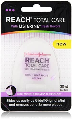 Reach Total Care floss with Listerine Fresh Flavors 30-Yard, (Pack of 6)