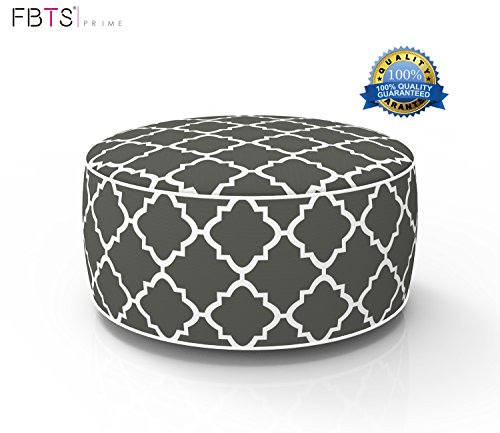 FBTS Prime Outdoor Inflatable Ottoman Grey Round Patio Foot Stools and Ottomans Portable Travel Footstool Used for Outdoor Camping Home Yoga Foot Rest -