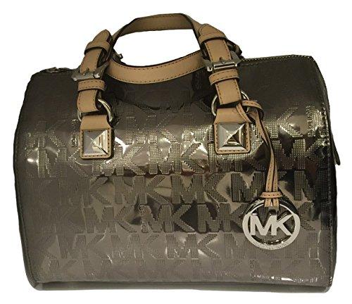 Michael Kors Signature MK Mirror Meatllic Grayson Medium Satchel Bag Nickel