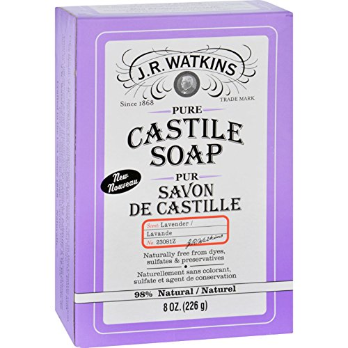 J.R. Watkins Pure Castile Bar Soap, Lavender, 8 Ounce
