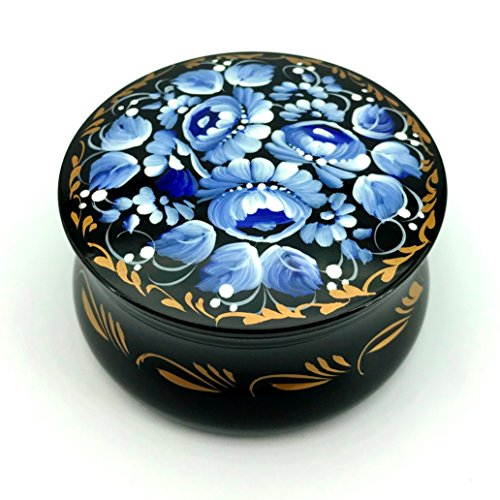 UA Creations Small Round Wooden Box with Floral Painting on Black Lacquer, Ethnic Accent Gift Storage Box for Jewelry