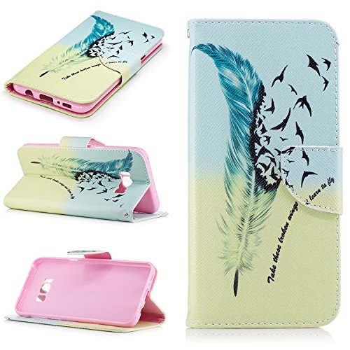 fan products of S8+ Case, Galaxy S8 Plus Case, Easytop Luxury PU Leather Stand Wallet Flip Protective Case Cover with Card Slots Magnetic Clousre for Samsung Galaxy S8+ (Feather and Freedom Birds)