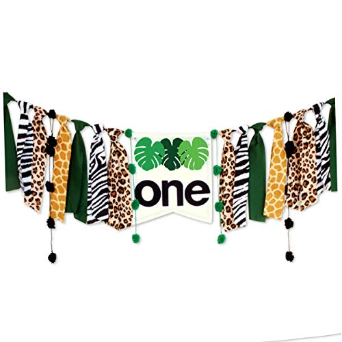 (CODOHI Wild One Jungle Safari High Chair Banner, Green & Gold Birthday Decoration, Safari Highchair Banner for 1st Birthday Baby Boy Lion Party)