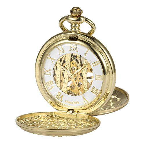 ManChDa Vintage Reindeer Pocket Watch Golden Hollow Case Skeleton Mechanical for Men Women Chain + Gift Box