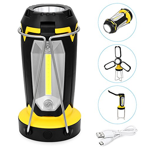 Gutsdoor LED Camping Lantern Rechargeable Portable Work Light with Stand Multi Function Flashlight with 1200Mah Power Bank for Indoor Outdoor Hiking Working Emergency(Yellow) by Gutsdoor