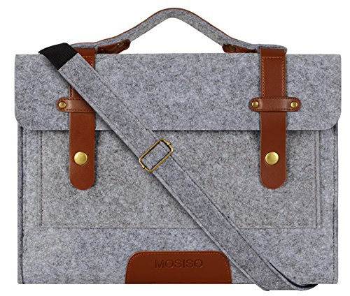 Mosiso Felt Laptop Shoulder Bag for 15-15.6 Inch 2017 / 2016 New MacBook Pro with Touch Bar A1707, MacBook Pro, Notebook Computer, Compatible with 14 Inch Notebook Ultrabook, Gray