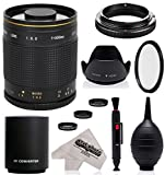 Super 500mm/1000mm f/8 Mirror Telephoto Lens for Canon EOS 80D, 70D, 60D, 60Da, 50D, 40D, 30D, 1Ds, Mark III II, 7D, 6D, 5D, 5DS, Rebel T6s, T6i, T6, T5i, T5, T4i, T3i, T3, SL1 Digital SLR Cameras