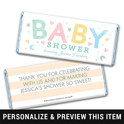 Baby Shower Favors Personalized Chocolate Bar Wrappers - Blue Foil (25 Count)