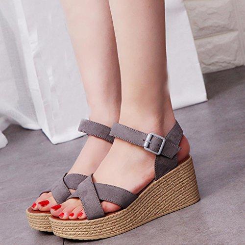 BescitaFrauen Mode Sommer Hang mit Flip Flops Sandalen Slipper Schuhe (37, Grau)