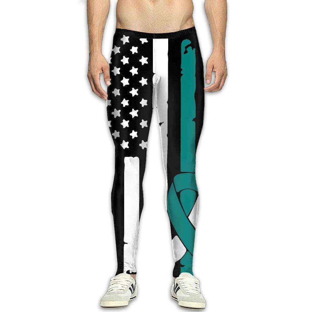 OIIH08-0 Cervical Cancer Awareness USA Flag-1 Mens Compression Leggings Base Under Layer Dry Cool Sports Pants for Men