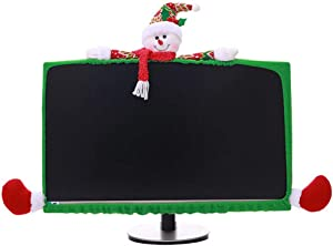 Christmas Computer Monitor Cover, Elastic Xmas Decorations Snowman Computer Laptop Monitor Border Cover for Home Office Decor Year Gift Ideas