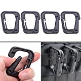 Tactical Backpack - XTACER Tactical Multipurpose D-Ring Locking Hanging Hook Tactical Link Snap Keychain for Molle Webbing - Black (Pack of 4)