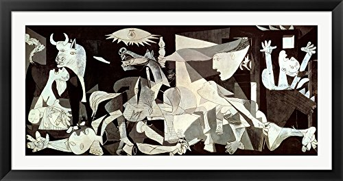 Guernica by Pablo Picasso Framed Art Print Wall Picture, Black Flat Frame with Hanging Cleat, 57 x 30 inches (Guernica Pablo Picasso)