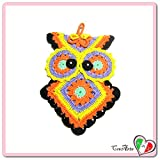 (US) Colorful crochet owl potholder in cotton - Size: 5.5 inch x 7.8 inch H - Handmade - ITALY