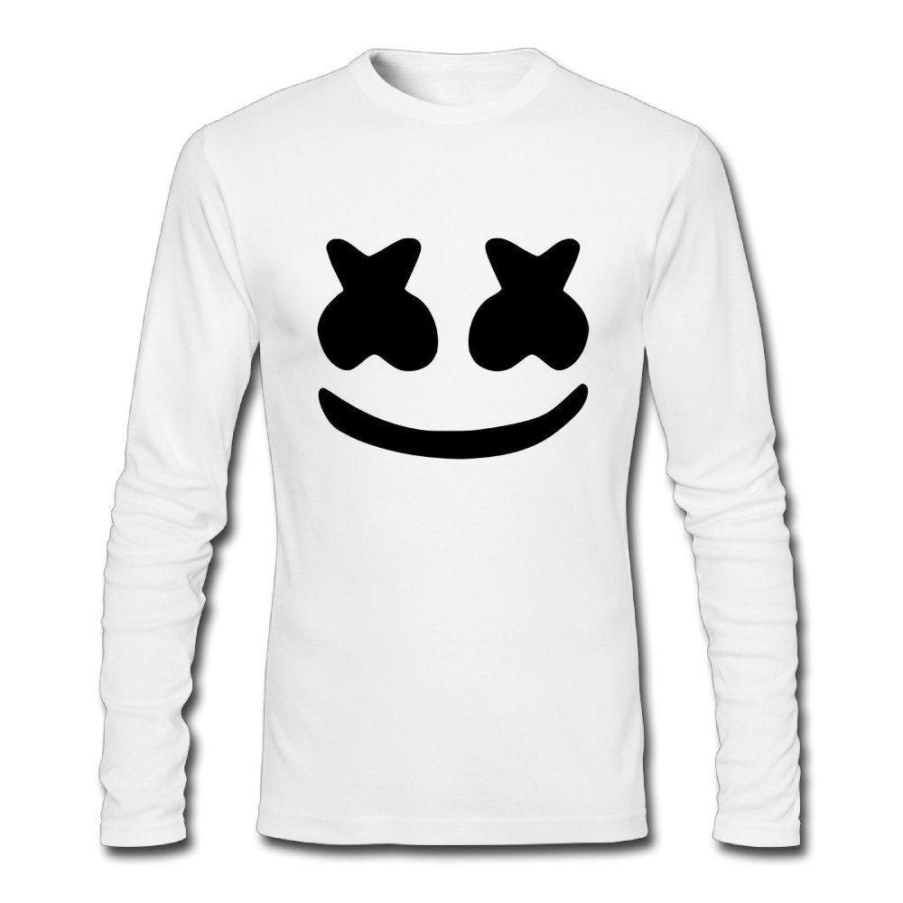 Cool Marshmello Face Men Perfect Round Neck Long Sleeve Autumn Wear T-shirt