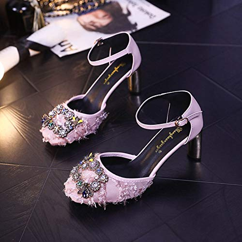 Square PU Heel Toe Shoes Pink Heels Strap Women's Pink Summer Ankle Chunky Rhinestone ZHZNVX Black Polyurethane gSvEwnq