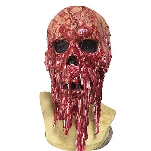 LSERVER Scary Full Face Mask - Halloween Costume Latex Blood Skull Head Mask