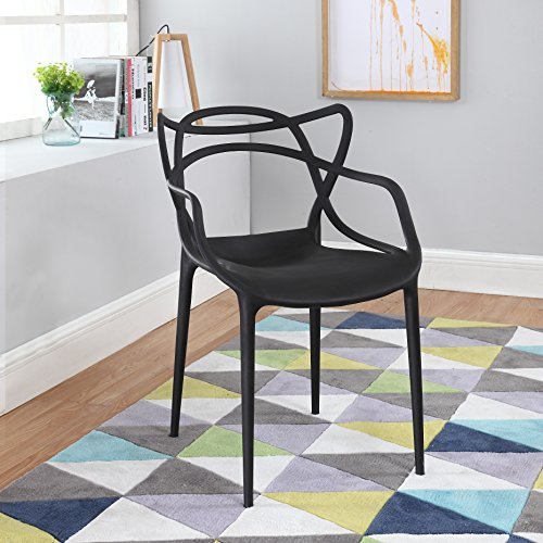 Modern Set of 2 Hollow-Out Abstract Pattern Chair (Black) Roma Kitchen