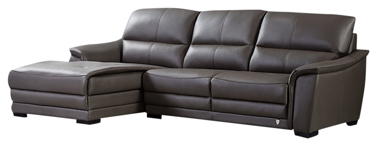 American Eagle Furniture Chandler Collection Contemporary Italian Top Grain  Leather Living Room Sectional Sofa and Chaise on Left With Pillow Top ...