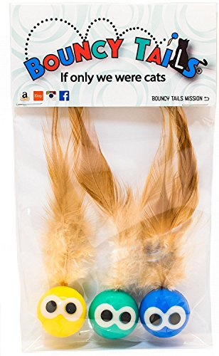 Bouncy Tails (3 Pack. A Bouncy cat Toy for Lots of Playtime Fun! (Interactive Bouncy Ball with All Natural Feathers)