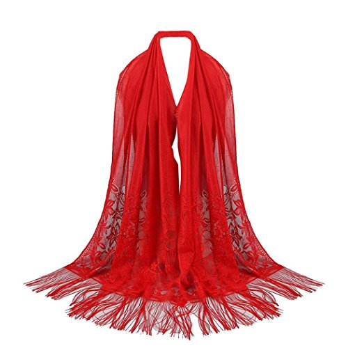Écharpe Creux Rouge Islamique Foulards Pure Dentelle Echarpe Adeshop Mode Couleur Châle Musulman Tassel Hijab Long Étole Femmes Wrap PA8gpqU1w
