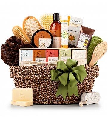 Organic Spa Gift Basket - Premium Gift Basket for Men or Women (Relaxation Basket Ideas)