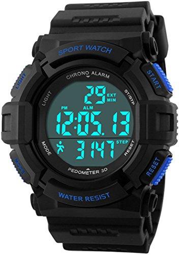 Fanmis Outdoor Sports Watch Digital Multifunction Alarm Pedometer Waterproof Watch Blue