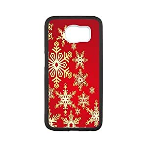 Samsung Galaxy S6 Cell Phone Case Black Golden Snowflakes JSK892676