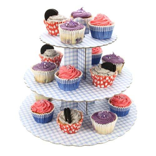 Culpitt Cupcake Stand - 3 Tier Blue Gingham 9100