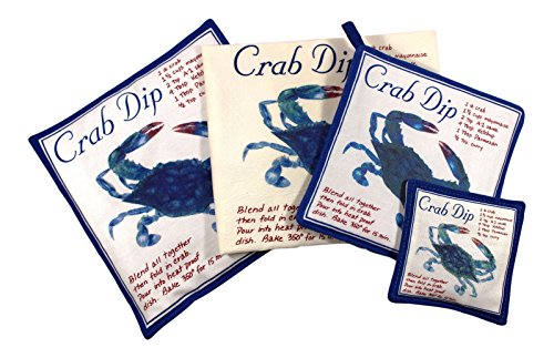 - Blue Crab Towel Spiced Hot Pad Pot Holder Spice Mug Mat 4 Piece Kitchen Gift Set