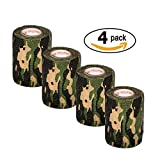 """Vet Wrap Tape Camo 3"""" inch x 15' Feet Vet Rap Self Adhesive Adherent Tape First Aid Supplies Camouflage Colors (2, 4, 6, 12, or 24 Pack Rolls)"""