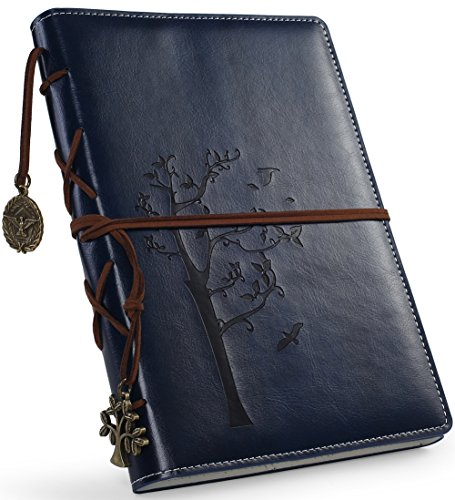 Leather Like Binding - Vintage artificial leather writing journal,refillable diary notebook,for men/women/girls/travelers/bloggers,cook book,classic daily use gifts by valery (NavyBlue-Lined)
