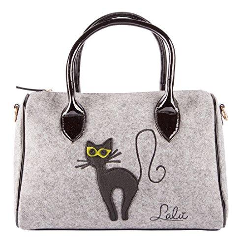 Lalu 'Ninon, bolso bowling mujer, gris, 16x 22x 33cm (W x H x l)