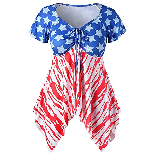 Matasleno Women's July 4th American Flag Tank Tops Summer Sleeveless Floral Print Casual Tank Tops Shirts Blue -