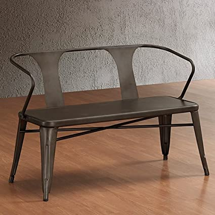 Miraculous Vintage Metal Bench With Back Spruce Up Your Foyer Or Backyard With This Vintage Style Metal Bench This Indoor Outdoor Metal Bench Has A Ncnpc Chair Design For Home Ncnpcorg