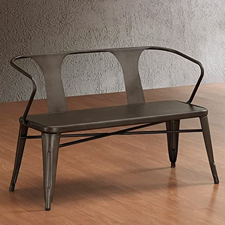 Vintage Metal Bench With Back. Spruce Up Your Foyer Or Backyard With This  Vintage Style