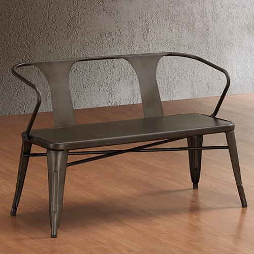 Vintage Metal Bench with Back. Spruce up Your Foyer or Backyard with This Vintage Style Metal Bench. This Indoor/outdoor Metal Bench Has a Scratch-resistant Powder Coat Finish. This Metal Bench Will Complement Your Home with Its Steel Construction.
