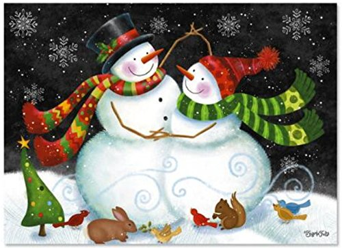 Classic Christmas Card 9 Pack ~ Snow Couple with Woodland Critters, Christmas Cheer (5